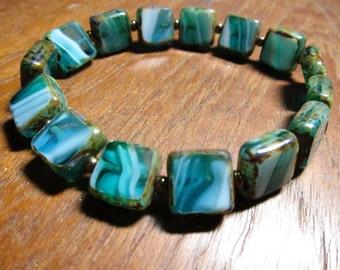 Blue Glass Bracelet, Turquoise Czech Glass Stretch Bracelet