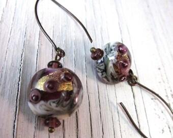 AMETHYST Gold Foil Lampwork Earrings, Wearable Art