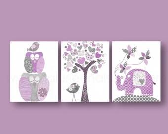 Baby girl nursery decor nursery wall art kids art love elephant nursery tree Birds owl purple gray nursery Set of three prints