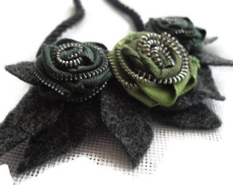 Green and Grey Zipper And Felt Statement Necklace Handmade