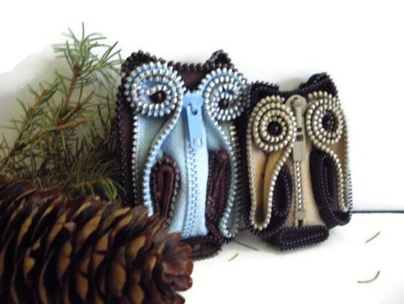 Blue and Brown Zipper Brooch Vintage Wearable Art Home Decor Collectible Handmade in usa