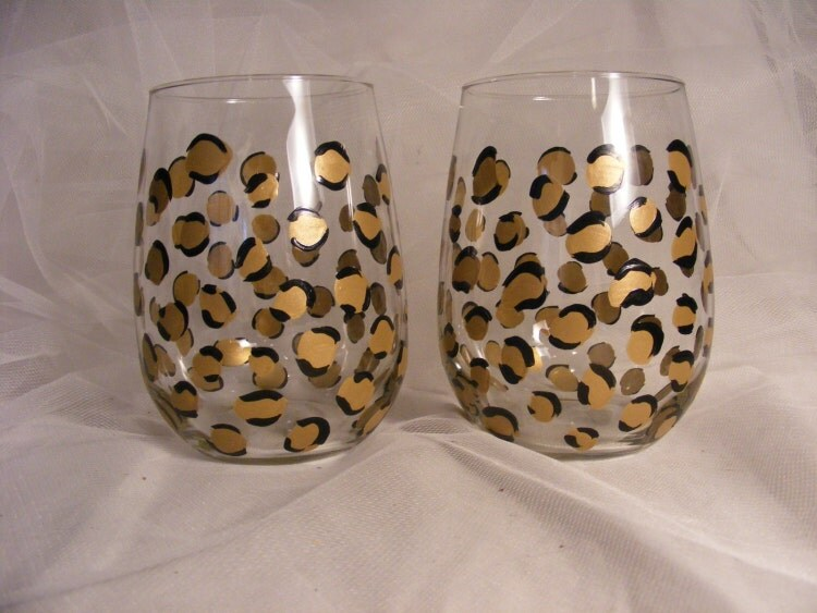 Painted Leopard Print Wine Glasses In Gold And By