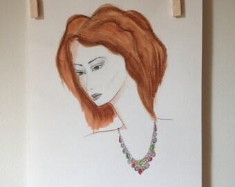 Girl with red hair watercolor fashion illustration print- Fashion wall art- Fashion sketch- Girls room decor- Original drawing