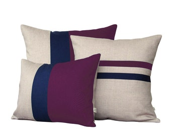 Colorblock Stripe Pillow Set - Plum & Navy Striped Pillow and Color Block Pillow Set by JillianReneDecor (Set of 3) - Purple