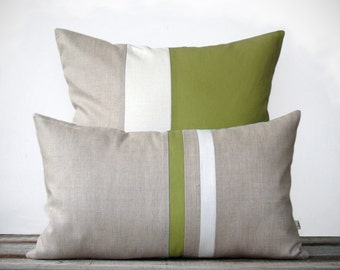 Olive Decorative Pillow Set - (12x20) Stripe Pillow and (20x20) Colorblock Pillow by JillianReneDecor - Minimal Modern Home Decor - Linden