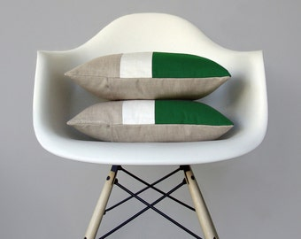 Kelly Green & Cream Color Block Pillow (Set of 2) Modern Home Decor by JillianReneDecor | Minimal | Colorblock Pillow | Holiday | Emerald