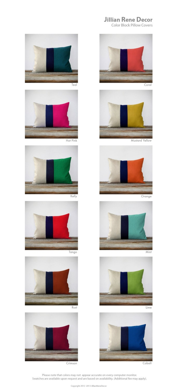 Color Block Stripe Pillow In Lime Green Navy And Natural