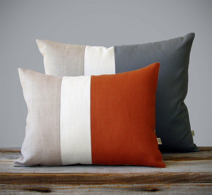 Color Block Pillow Set 12x16 Paprika And 16x20 Charcoal