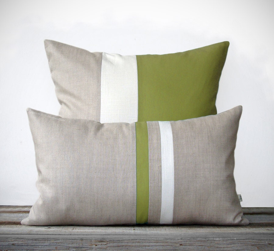 Olive Decorative Pillow Set 12x20 Stripe Pillow and