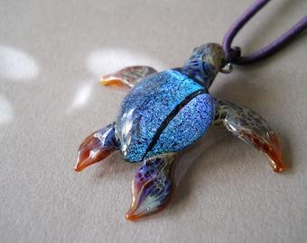 Lady of the Sea Blue Dicro Sea Turtle pendant necklace
