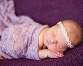Newborn Tieback headband halo with Ivory and Silver Accents