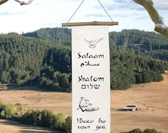 SHALOM-SALAAM - Petite Silk Scroll - Peace Be Upon You - Doves - Peace - Hebrew - Arabic - Wall Hanging - Home Decor - Scroll-Hanukkah