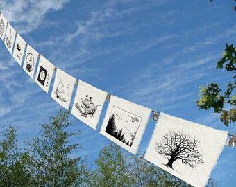 9 prayers for the Earth - Garden Art - Bunting - Home Decor -Prayer Flags-Sea Turtle-Grizzly Bear-Doves-Lotus-Tree- Geese-Crane-Summer
