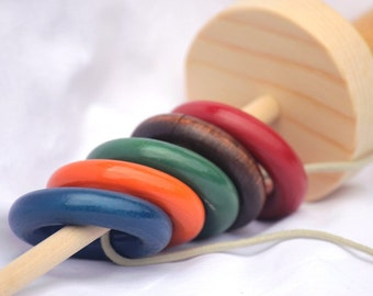 Toy Indian Ring Toss - Handcrafted Wooden Folk Toy - Indian Ring Toss - Fishing Game
