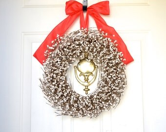 Cream Berry wreath - big red bow - White Christmas - Front Door decoration - Holiday wreath