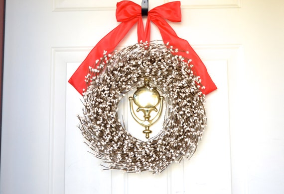 Cream Berry Wreath Big Red Bow White By Laurelsbylaurie On