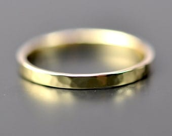 Yellow Gold Ring, 18K Yellow Gold Hammered 2mm Ring, Stacking Wedding Band, SeaBabeJewelry