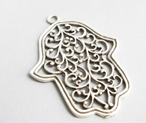 1pc Matte Silver Plated Base Hand of Hamsa Pendant - 70x50mm (412-017SP)