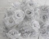 18 Chic Silver Gray Organza Ribbon Wired Rose Flower w rhinestone Christmas Holiday Bridal Wedding Favor Bow Hair Accessory Applique #1