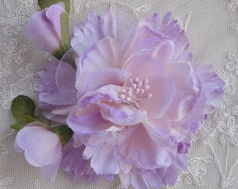 Lavender Organza Peony Rose Flower w Rose Bud Bridal Hair Accessory Pin