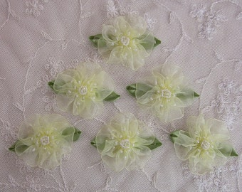 6pc Glass Beaded Yellow Organza Fabric Flower Applique Baby Doll Christening Bridal Corsage