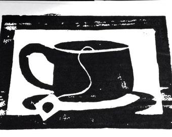 Card, Cup of Tea-notecard, woodcut, handmade
