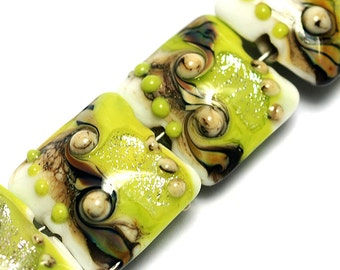 Glass Lampwork Bead Set - Four Lime Stardust Pillow Beads 10505614