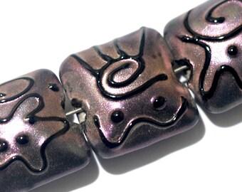 Glass Lampwork Bead Set - Seven Light Purple Pearl Surface Pillow Beads 11204504