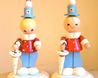 PAIR Vintage Irmi Nursery Lamps - Clown - Vintage Irmi - Vintage Nursery - Vintage Baby Lamp - Midcentury Nursery