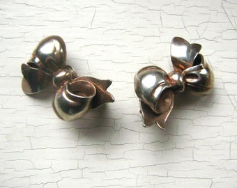 Monet Sterling Clip on Rose Gold over Silver Ribbon Bow Clip on Earrings Vintage 1940's