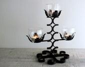 Vintage Black Wrought Iron Candelabra Candle Holder    Halloween