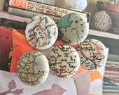 Fabric Buttons, Retro Beige World Altas Map Fabric Buttons, Fridge Magnets, Large Buttons, Beige Buttons,  Flat Backs, 1.1 Inches 5's