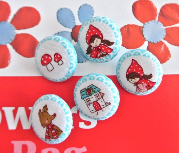 "Fabric Button, Fridge Magnets, Animal Magnet, Covered Button, Riley Blake Little Red Riding Hood buttons,  Animal Buttons, Flat Back, 1"" 5's"