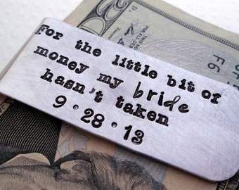 Groom Gift  - Personalized Money Clip - Aluminum Money Clip - Bride and Groom