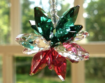 "Swarovski Christmas Ornament Suncatcher, ""NOEL"" Red, Green, and Clear Swarovski Crystal Star Cluster for Tree, Car, or Home Window, 5"" Long"