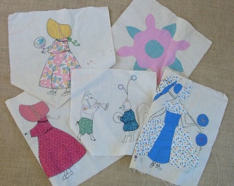 Vintage Quilt Squares Fabric Supplies Boy Girl Feed Sac