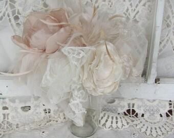 Flower Girl Bouquet, Feather bouquet, Fabric  Bouquet, Bridal toss bouquet, blush wedding flowers, Feather and lace bouquet