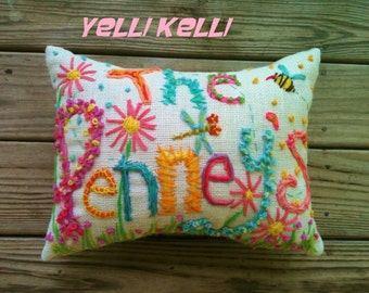 LARGE Deluxe  Bohemian Name Pillow Made To Order