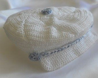 Crocheted baby hat, newsboy hat, newborn baby boy hat, heirloom baby hat, christening baby boy hat, blessing hat, baby hat, crochet baby
