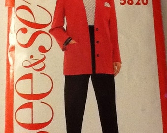 Vintage See and Sew Pattern, Jacket and pants pattern, Cut, sizes 8-12