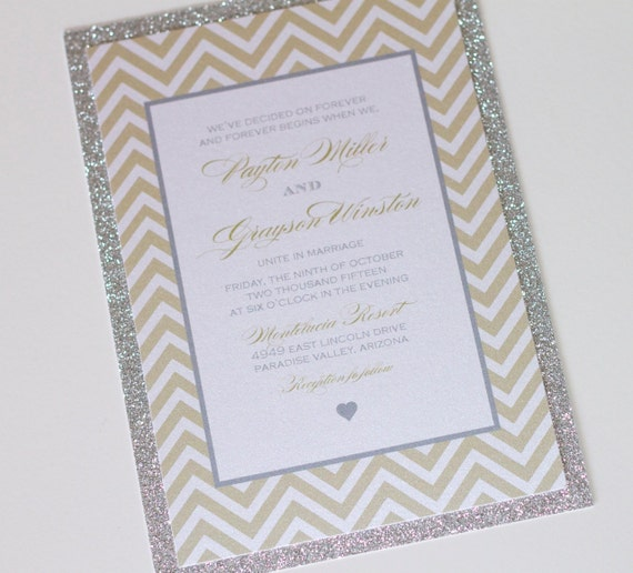 Payton Glitter Wedding Invitation Chevron