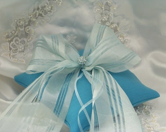 Ring Bearer Pillow Vintage Sash Ribbon Vintage Tiffany Blue Rhinestone Button Heirloomk Wedding 1920's Ribbon Vintage Rhinestone Bling