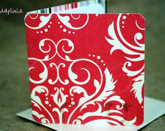 Blank Mini Card Set of 10, Romantic Swirl with Contrasting Stripe on the Inside, Metallic Pearl Envelopes, mad4plaid