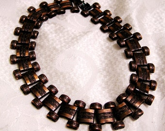 Art Deco or Mid Century Heavy Copper Bookchain Necklace Choker with Beauty and Texture (J107)