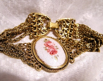 Vintage Goldette Enamel Guilloche Bracelet with Roses and Chains (J17)