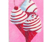 CANDY CANE CONES - Original aceo Mini Painting by Rodriguez