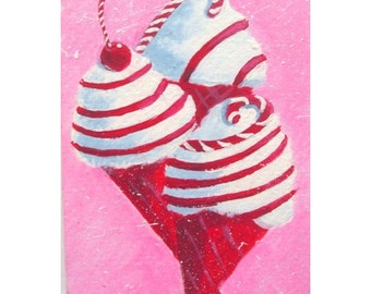 Original Painting * CANDY CANE CONES * aceo Mini Painting * Small Art Format  by Rodriguez