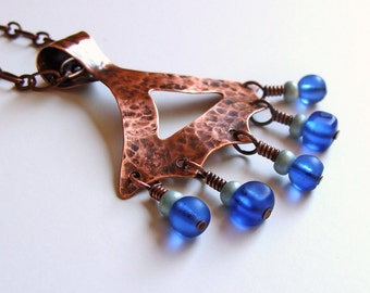 Boho Hammered Copper Triangle Cobalt Glass Drops Pendant Textured Patina