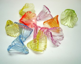 Assorted Colorful Transparent Acrylic Flower Bell Beads (Qty 11) - B1971