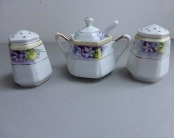 Antique Handpainted Nippon Condiment Set with Violets